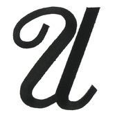 Embroidered Iron-On Script Letter U - 3""